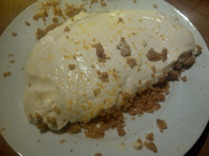 Image of disastrously sloppy cheesecake
