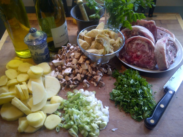 Image of ingredients chopped and ready for Spring lamb hotpot