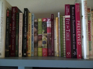 Cookery books on shelf