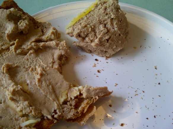 Image of pate spread on buttered toast