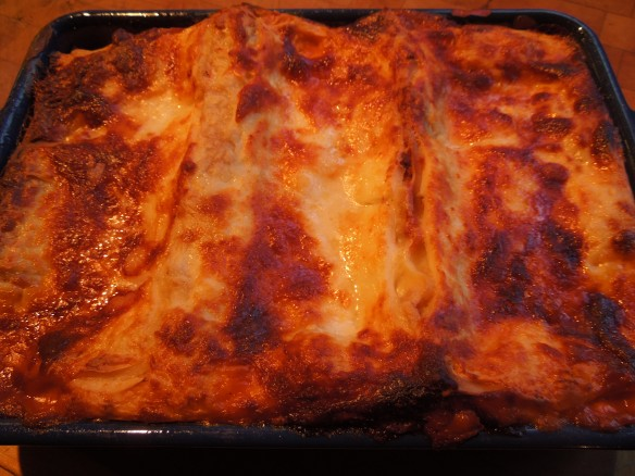 Image of a dish of cooked lasagne