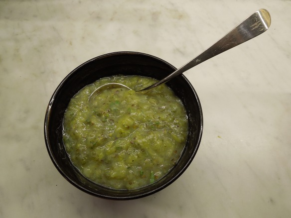 Image of gooseberry and sage sauce in a bowl