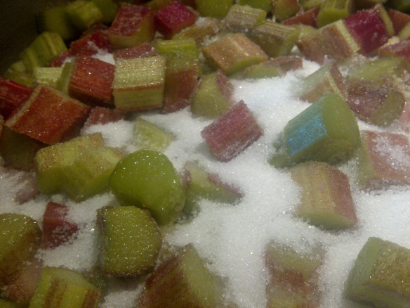 Image of a pan of sugared rhubarb