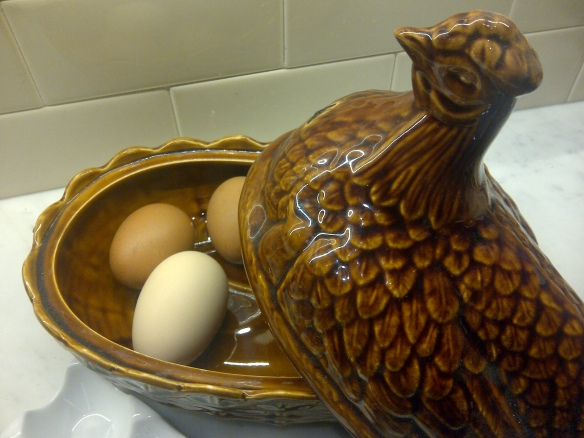 Image of eggs in a pottery chicken