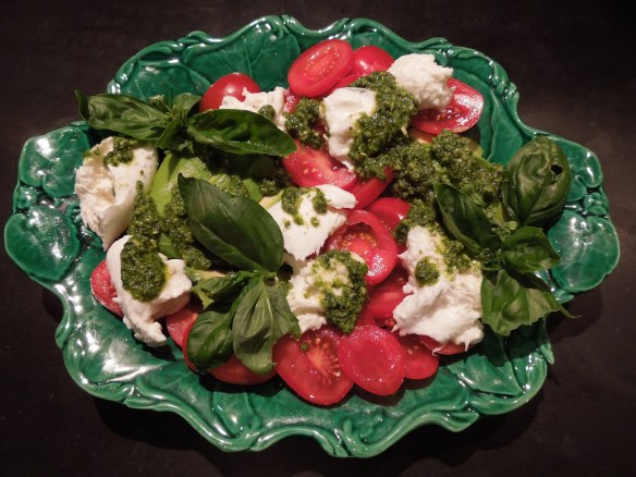 Image of tricolore salad with a pesto dressing