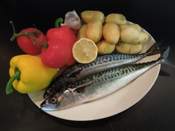 Image of mackerel and vegetables on a dish