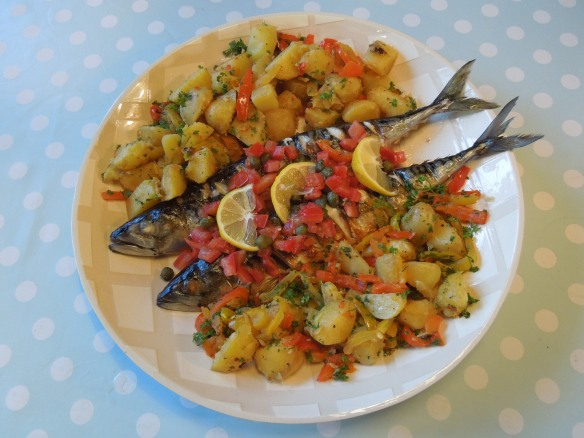 Image of barbecued mackerel with capers and tomatoes, potatoes and peppers