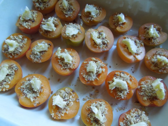 Image of stuffed apricots dotted with butter