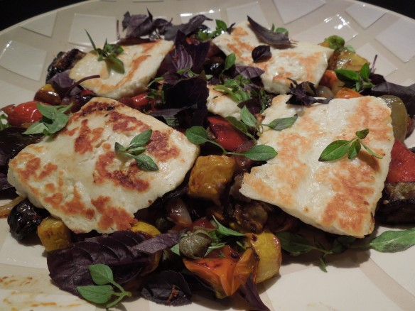 Image of roasted veg with chorizo and halloumi