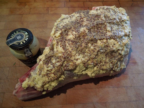 Image of mustard-crusted leg of lamb