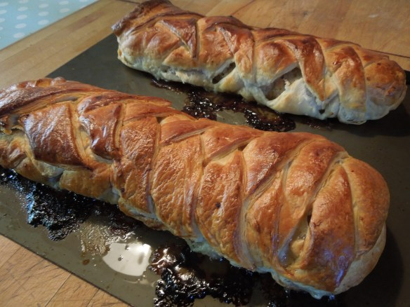 Image of the cooked sausage plaits hot from the oven