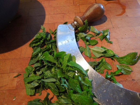 Image of mint and basil, chopped