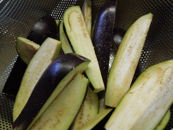 Image of salted aubergine wedges