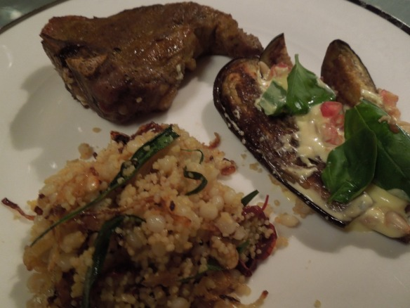 Image of spicy lamb chops with aubergine salad and couscous