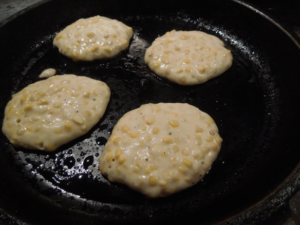 Image of dollops of mix in the pan