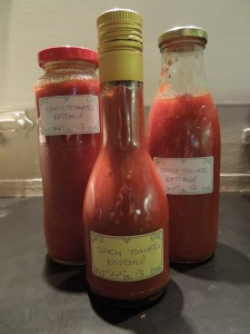 Image of bottles of spicy tomato ketchup