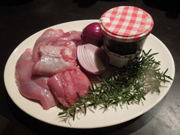 Image of main ingredients for rabbit with vino cotto