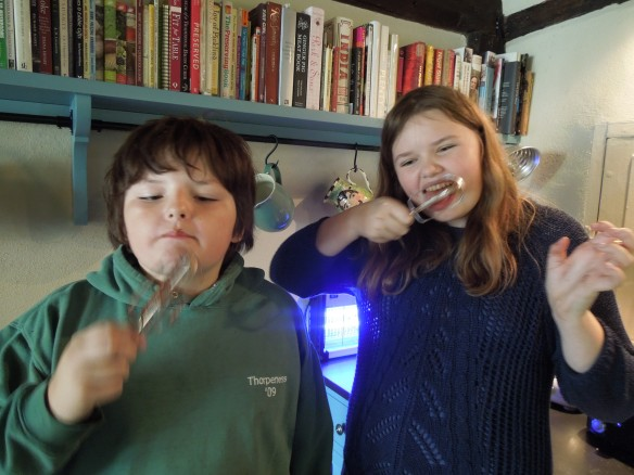 Image of Alex and her brother Edward licking the chocolate from the whisk