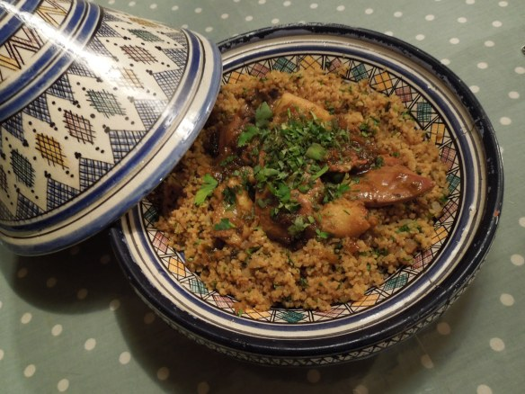 Image of tagine and pilaf served in tagine dish