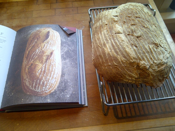Image of failed sourdough loaf next to a picture of the real thing
