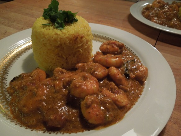 Image of prawn curry with rice