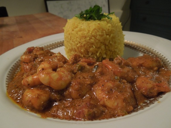 Image of prawn curry served with rice
