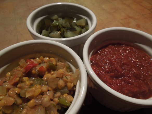 Image of sweetcorn relish, pickled cucumber and spicy tomato ketchup
