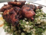 Image of sticky roast quail with mograbiah salad