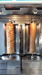 Image of doner kebab meat on a spit