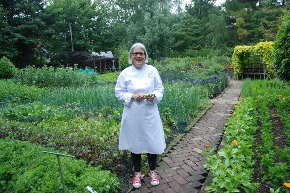 Image of Darina Allen in the kitchen garden at Ballymaloe House