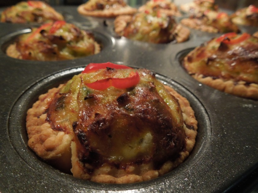 Image of a cheese and leek tartlet