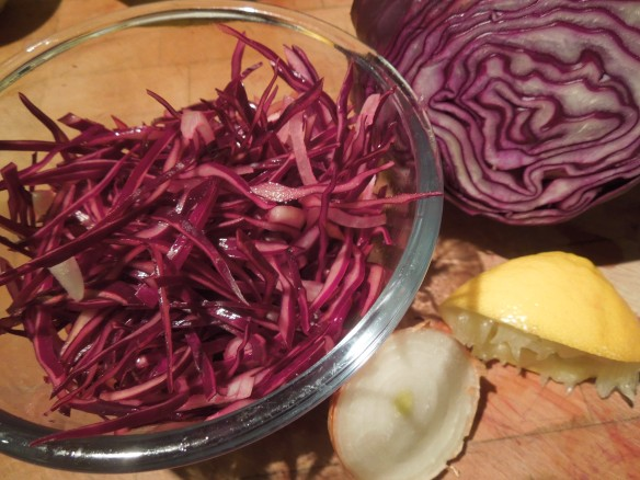 Image of shredded red cabbage