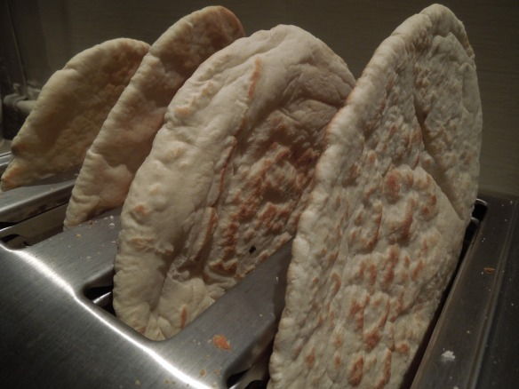 Image of pitta bread in a toaster