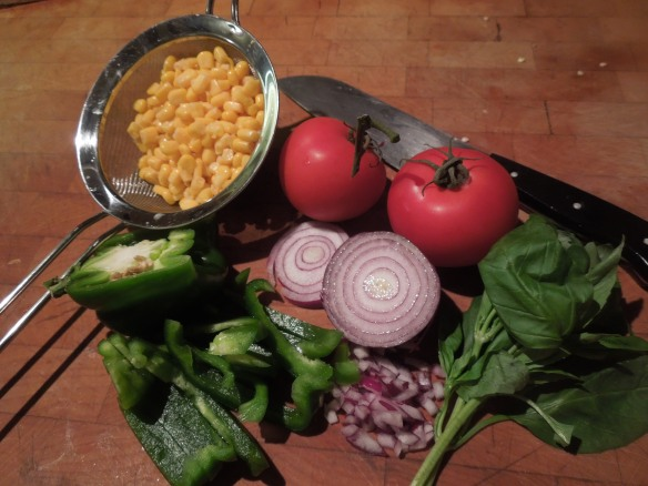 Image of ingredients for sweetcorn salad
