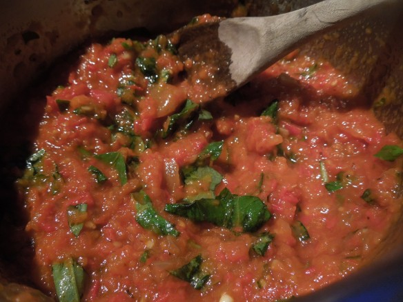 Image of tomato and basil sauce