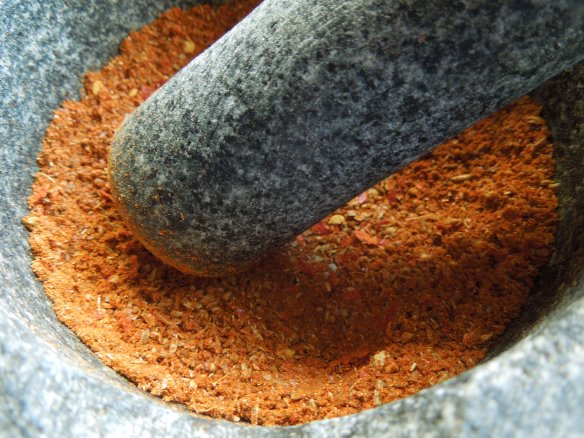 Image of the spices being ground