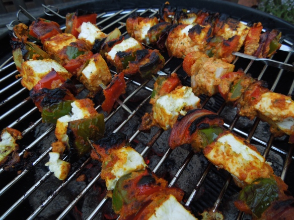 Image of paneer tikka on the barbecue