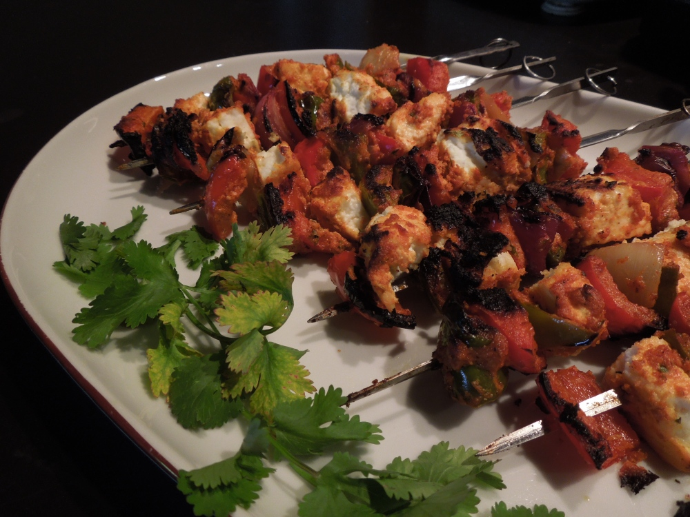 Image of paneer tikka, barbecued