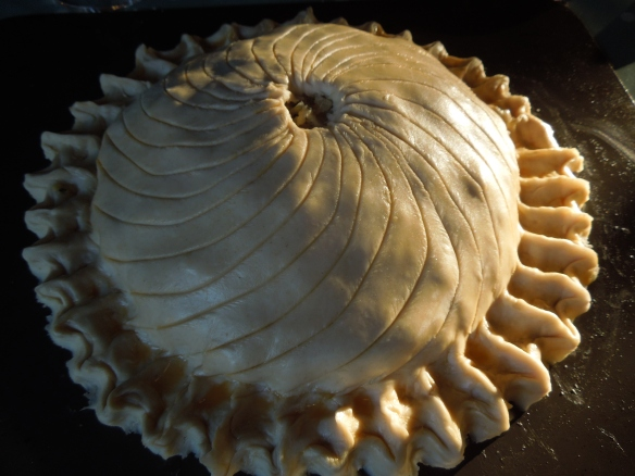 Image of pithivier decorated and ready for oven