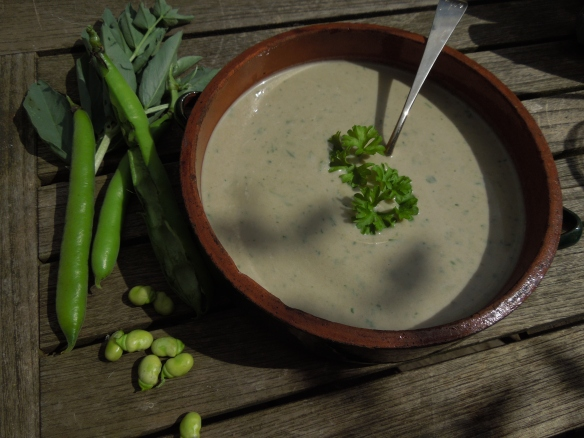 Image of a big bowl of broad bean Vichysoisse