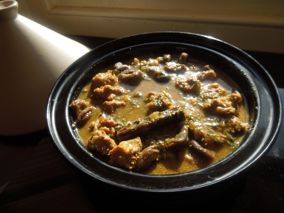 Image of lamb abd apricot tagine on the stove