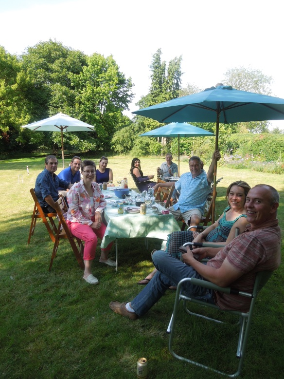 Image of the party-goers in the garden