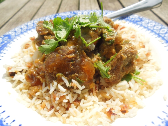 Image of lamb and apricot tagine with rice pilaf