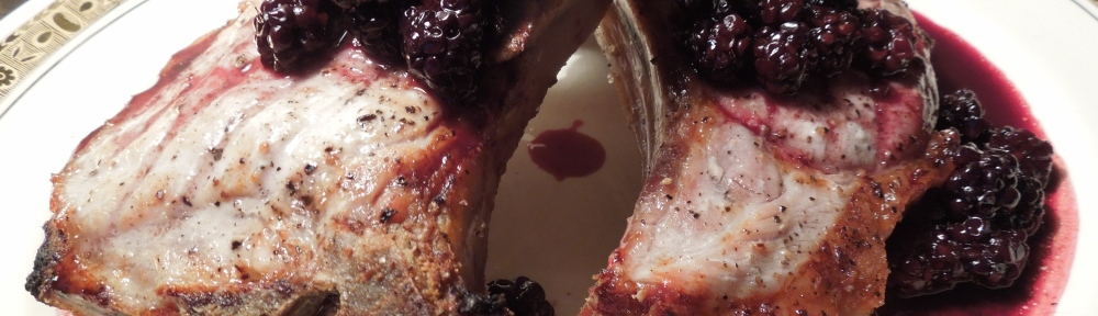 Image of chops with blackberry sauce
