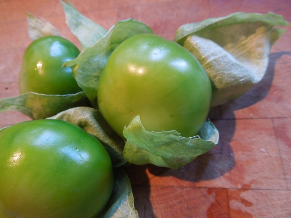 Image of husk peeled back from tomatillos