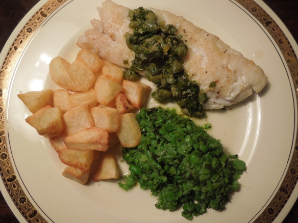 Image of haddock with capers and lemon and crushed peas