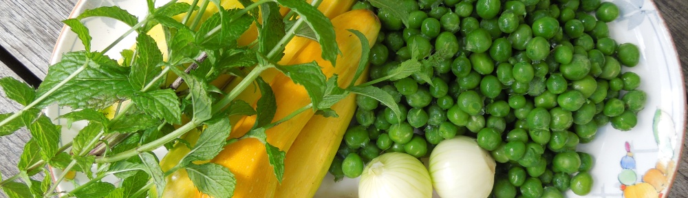 Image of mint, courgettes, peas and baby onions