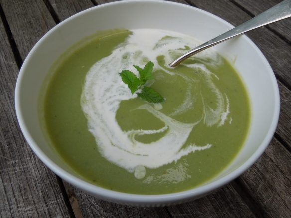 Image of soup swirled with cream