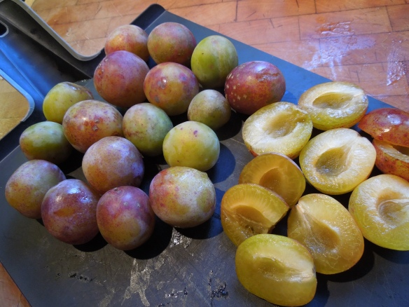 Image of plums on a chopping board