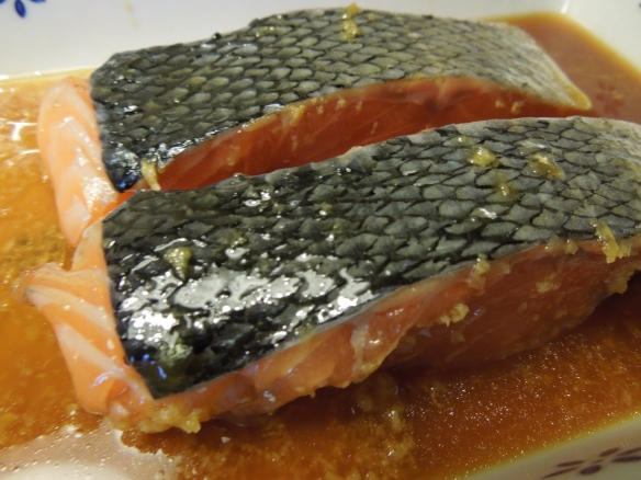 Salmon fillets on the teriyaki marinade